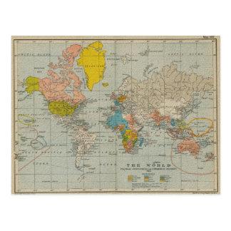 Mapa del mundo 1910 del vintage tarjetas postales
