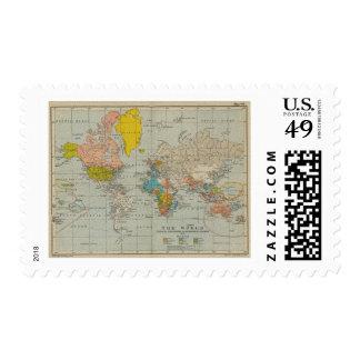 Mapa del mundo 1910 del vintage sello postal