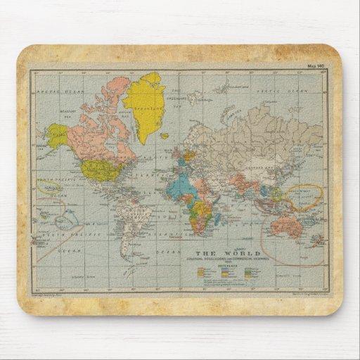 Mapa del mundo 1910 del vintage tapetes de raton