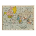 Mapa del mundo 1910 del vintage tarjeta postal