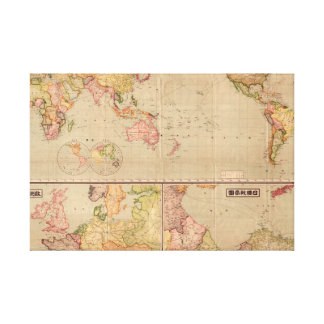 Mapa del mundo 1914 de la lengua japonesa impresión en lienzo