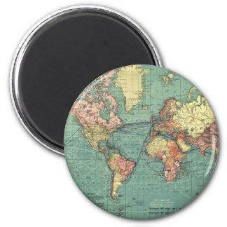 Mapa del mundo 1919 imán redondo 5 cm