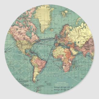 Mapa del mundo 1919 pegatina redonda