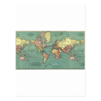 Mapa del mundo 1919 tarjeta postal