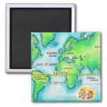 Mapa del mundo 19 imán cuadrado