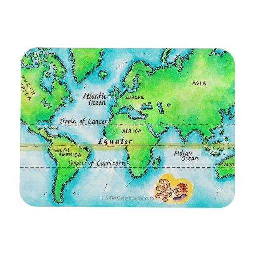 Mapa del mundo 19 imán de vinilo