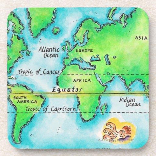 Mapa del mundo 19 posavasos de bebidas