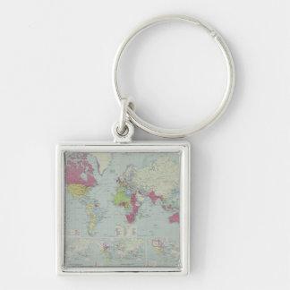 Mapa del mundo 20 llavero cuadrado plateado