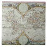 Mapa del mundo 21 azulejo cuadrado grande