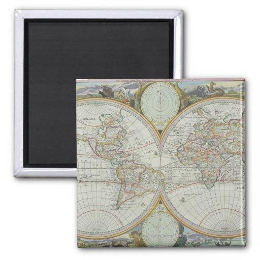 Mapa del mundo 21 imán cuadrado