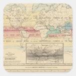Mapa del mundo 2 calcomanias cuadradas