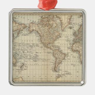Mapa del mundo 2 adorno cuadrado plateado