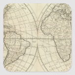 Mapa del mundo 2 pegatina cuadrada