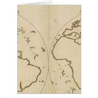 Mapa del mundo 2 tarjeta de felicitación
