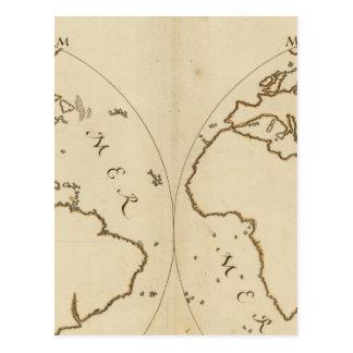 Mapa del mundo 2 tarjetas postales