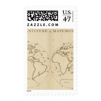 Mapa del mundo 2 timbres postales