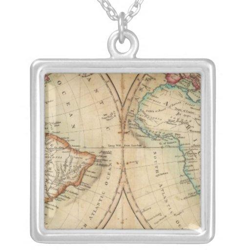 Mapa del mundo 3 colgante cuadrado