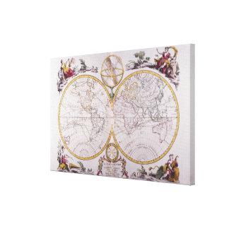 Mapa del mundo 3 lona envuelta para galerias
