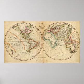 Mapa del mundo 3 póster