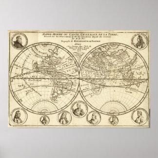 Mapa del mundo 4 póster