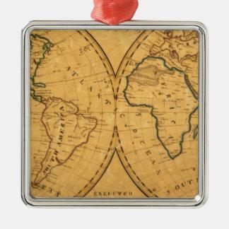 Mapa del mundo 5 adorno navideño cuadrado de metal