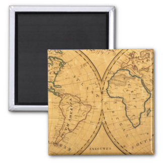Mapa del mundo 5 imán cuadrado