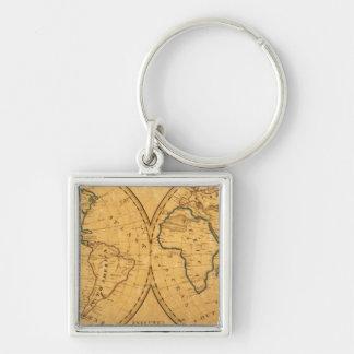 Mapa del mundo 5 llavero cuadrado plateado