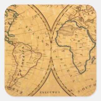 Mapa del mundo 5 pegatina cuadrada
