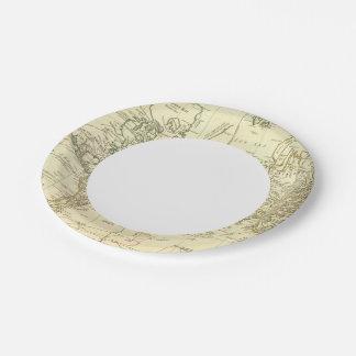 Mapa del mundo 5 plato de papel de 7 pulgadas
