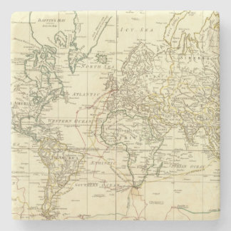 Mapa del mundo 5 posavasos de piedra
