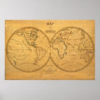 Mapa del mundo 5 póster