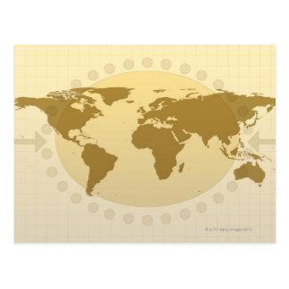 Mapa del mundo 5 postales