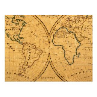Mapa del mundo 5 tarjetas postales