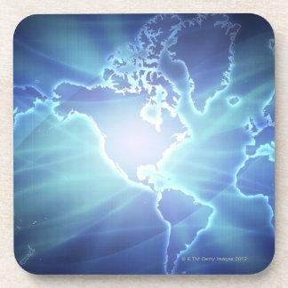 Mapa del mundo 6 posavasos