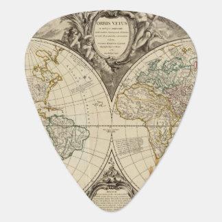 Mapa del mundo 8 púa de guitarra