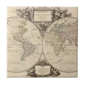 Mapa del mundo 9 azulejo cuadrado pequeño