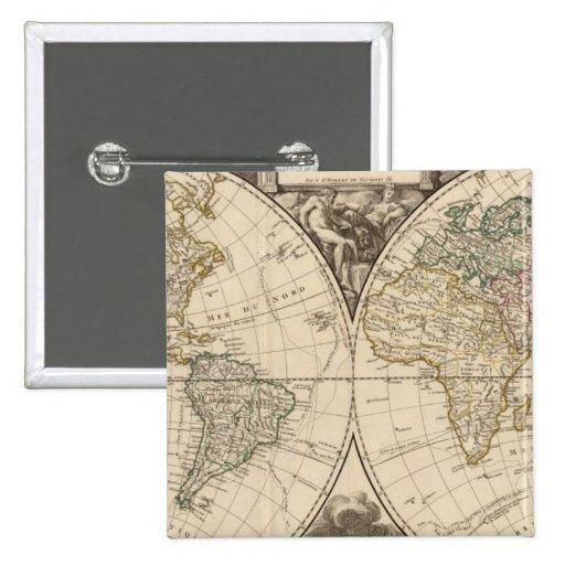 Mapa del mundo 9 pin cuadrado