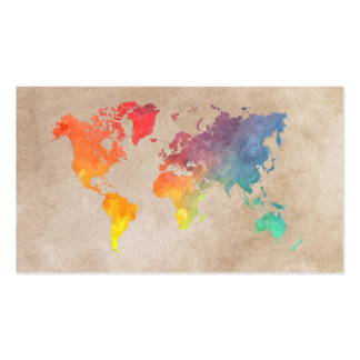 mapa del mundo 9 tarjetas de visita