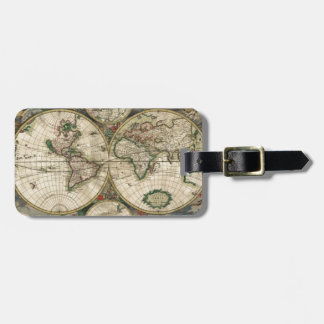 Mapa del mundo a partir de 1689 etiquetas bolsas
