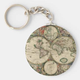 Mapa del mundo a partir de 1689 llaveros