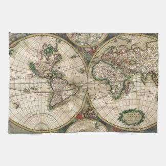 Mapa del mundo a partir de 1689 toallas de mano