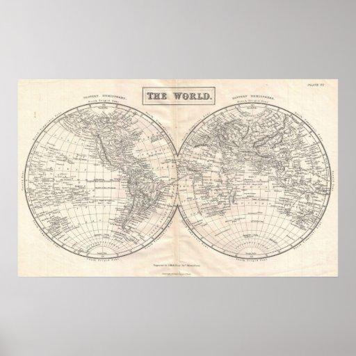Mapa del mundo a partir de 1860 póster
