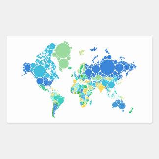 mapa del mundo abstracto con los puntos coloridos pegatina rectangular