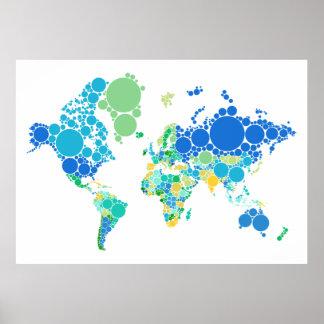 mapa del mundo abstracto con los puntos coloridos póster