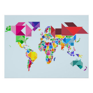 Mapa del mundo abstracto del rompecabezas chino