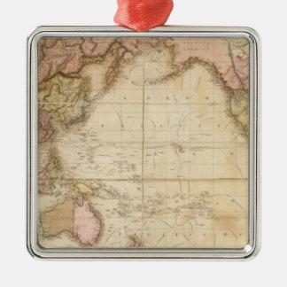 Mapa del mundo adorno cuadrado plateado