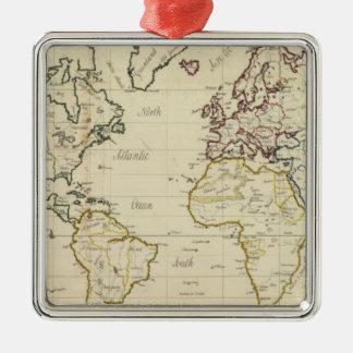 Mapa del mundo adorno navideño cuadrado de metal