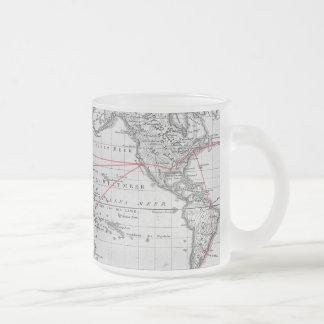 Mapa del mundo aeronáutico del vintage taza de café