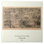 Mapa del mundo antiguo 1581 de Nicola van Sype Teja Ceramica