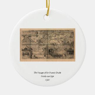 Mapa del mundo antiguo 1581 de Nicola van Sype Ornaments Para Arbol De Navidad